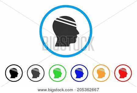 Patient Head rounded icon. Style is a flat patient head gray symbol inside light blue circle with black, gray, green, blue, red, orange variants. Vector designed for web and software interfaces.