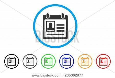 Person Cardfile rounded icon. Style is a flat person cardfile gray symbol inside light blue circle with black, gray, green, blue, red, orange variants. Vector designed for web and software interfaces.