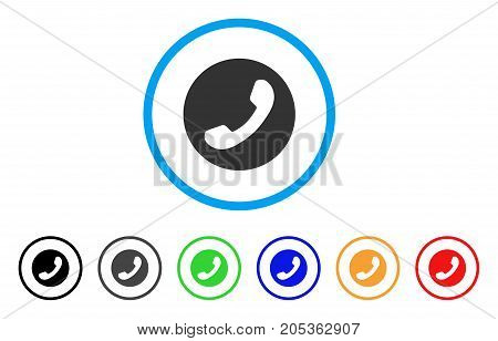 Phone Number rounded icon. Style is a flat phone number gray symbol inside light blue circle with black, gray, green, blue, red, orange versions. Vector designed for web and software interfaces.