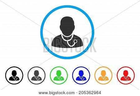 Physician rounded icon. Style is a flat physician grey symbol inside light blue circle with black, gray, green, blue, red, orange versions. Vector designed for web and software interfaces.