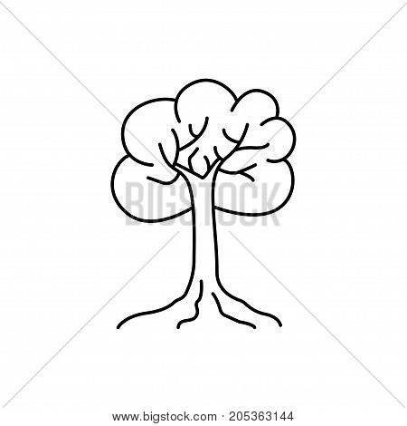 Tree thin line art icon. Line style vector illustration