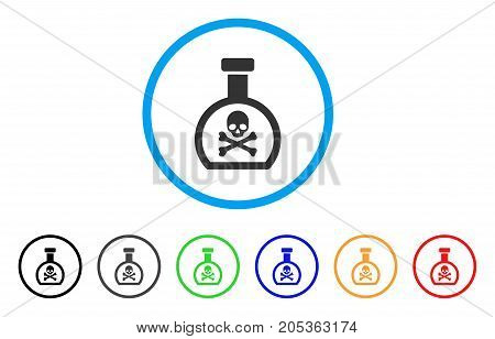 Poison Retort rounded icon. Style is a flat poison retort grey symbol inside light blue circle with black, gray, green, blue, red, orange versions. Vector designed for web and software interfaces.