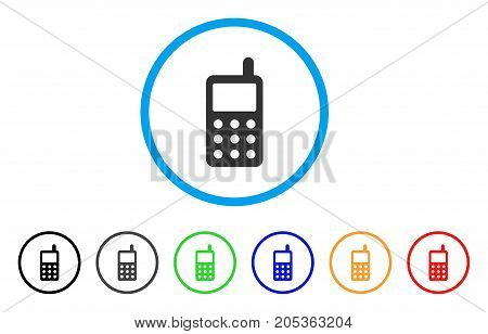Portable Radio Transmitter rounded icon. Style is a flat portable radio transmitter grey symbol inside light blue circle with black, gray, green, blue, red, orange versions.