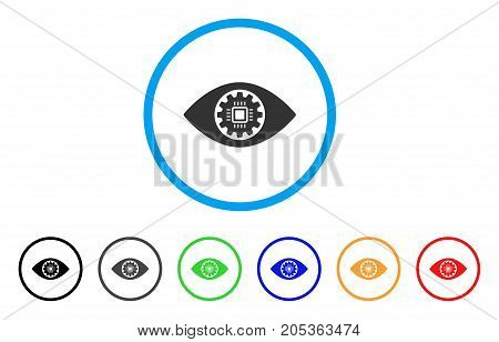 Robotics Eye Lens rounded icon. Style is a flat robotics eye lens grey symbol inside light blue circle with black, gray, green, blue, red, orange color versions.