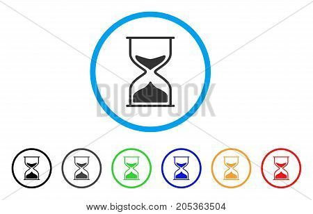 Sand Glass rounded icon. Style is a flat sand glass gray symbol inside light blue circle with black, gray, green, blue, red, orange versions. Vector designed for web and software interfaces.
