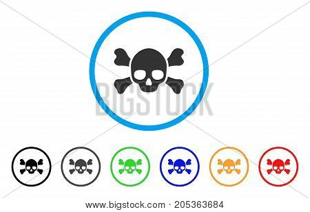 Skull Crossbones rounded icon. Style is a flat skull crossbones gray symbol inside light blue circle with black, gray, green, blue, red, orange variants.
