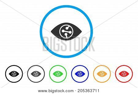 Smart Contact Lens rounded icon. Style is a flat smart contact lens grey symbol inside light blue circle with black, gray, green, blue, red, orange variants.