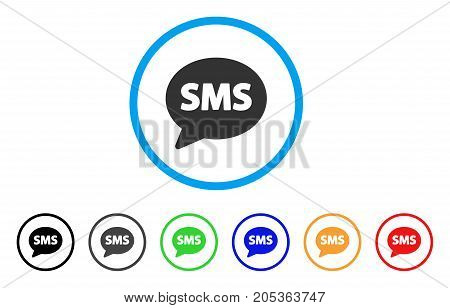 SMS Balloon rounded icon. Style is a flat sms balloon gray symbol inside light blue circle with black, gray, green, blue, red, orange variants. Vector designed for web and software interfaces.