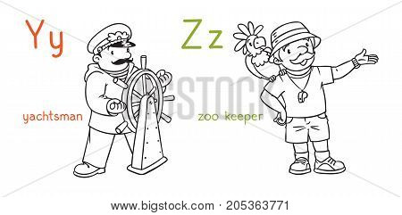 Coloring book set of funny yachtsman or captain and zoologist or zoo keeper. Profession ABC series. Children vector illustration. Alphabet