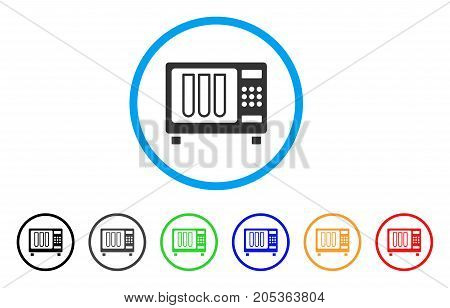 Sterilizer rounded icon. Style is a flat sterilizer grey symbol inside light blue circle with black, gray, green, blue, red, orange variants. Vector designed for web and software interfaces.