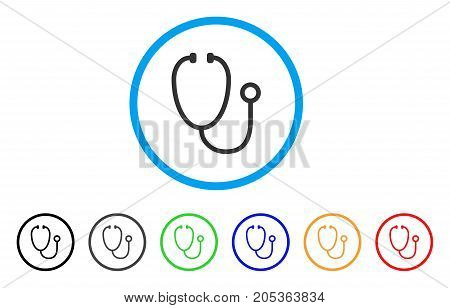 Stethoscope rounded icon. Style is a flat stethoscope grey symbol inside light blue circle with black, gray, green, blue, red, orange color versions. Vector designed for web and software interfaces.