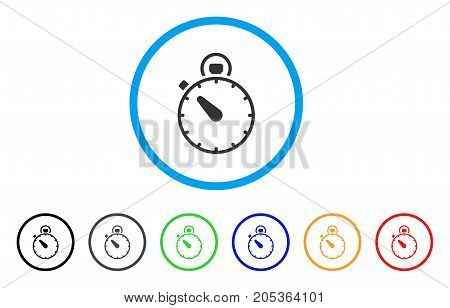 Timer rounded icon. Style is a flat timer grey symbol inside light blue circle with black, gray, green, blue, red, orange versions. Vector designed for web and software interfaces.