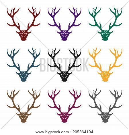 Deer antlers horns icon in black style isolated on white background. Hunting symbol vector illustration.