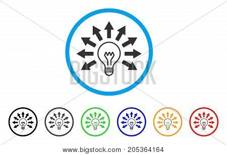 Ultraviolet Lamp rounded icon. Style is a flat ultraviolet lamp grey symbol inside light blue circle with black, gray, green, blue, red, orange versions.