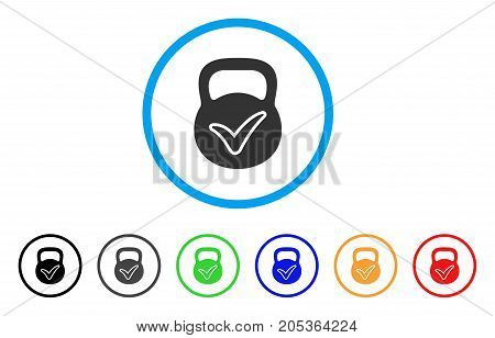 Valid Iron Weight rounded icon. Style is a flat valid iron weight gray symbol inside light blue circle with black, gray, green, blue, red, orange color versions.