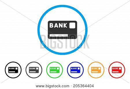 Bank Card rounded icon. Style is a flat bank card gray symbol inside light blue circle with black, gray, green, blue, red, orange color versions. Vector designed for web and software interfaces.