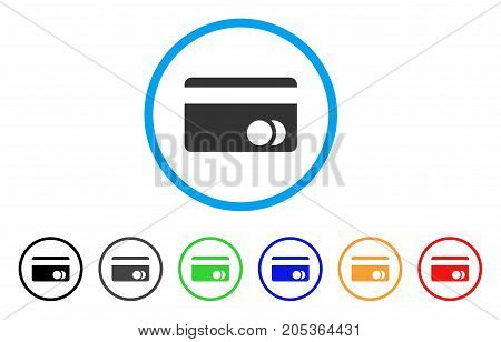 Banking Card rounded icon. Style is a flat banking card grey symbol inside light blue circle with black, gray, green, blue, red, orange versions. Vector designed for web and software interfaces.
