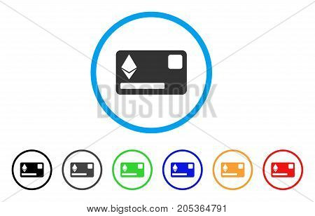 Ethereum Credit Card rounded icon. Style is a flat ethereum credit card gray symbol inside light blue circle with black, gray, green, blue, red, orange color versions.