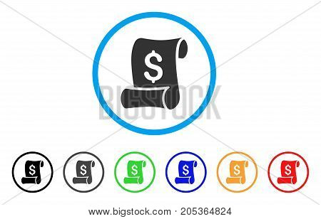 Financial Receipt Roll rounded icon. Style is a flat financial receipt roll gray symbol inside light blue circle with black, gray, green, blue, red, orange versions.