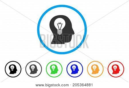 Intellect Bulb rounded icon. Style is a flat intellect bulb gray symbol inside light blue circle with black, gray, green, blue, red, orange variants. Vector designed for web and software interfaces.