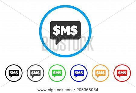 SMS Bubble rounded icon. Style is a flat sms bubble gray symbol inside light blue circle with black, gray, green, blue, red, orange variants. Vector designed for web and software interfaces.