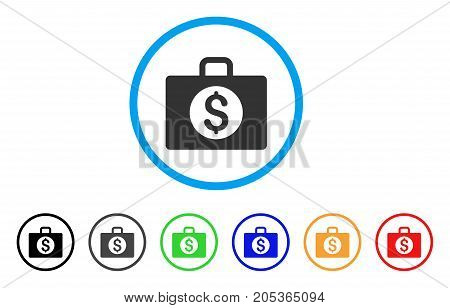 Accounting Case rounded icon. Style is a flat accounting case grey symbol inside light blue circle with black, gray, green, blue, red, orange variants. Vector designed for web and software interfaces.