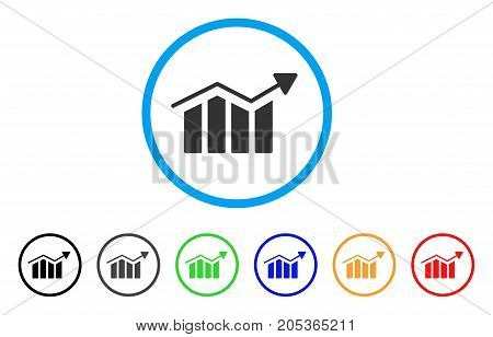 Bar Chart Trend rounded icon. Style is a flat bar chart trend grey symbol inside light blue circle with black, gray, green, blue, red, orange versions. Vector designed for web and software interfaces.