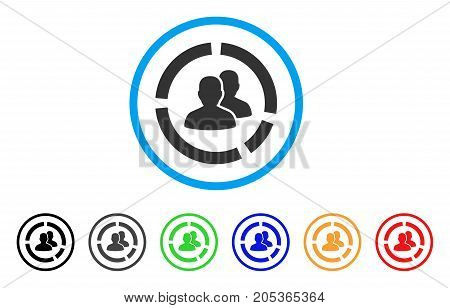 Demography Diagram rounded icon. Style is a flat Demography diagram gray symbol inside light blue circle with black, gray, green, blue, red, orange color versions.