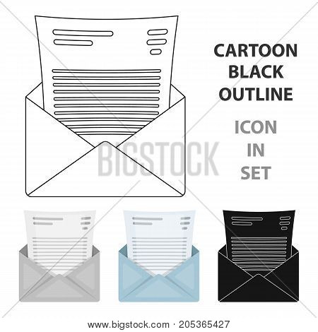 The envelope with the letter inside.A letter for the detective.Detective single icon in cartoon style vector symbol stock web illustration.