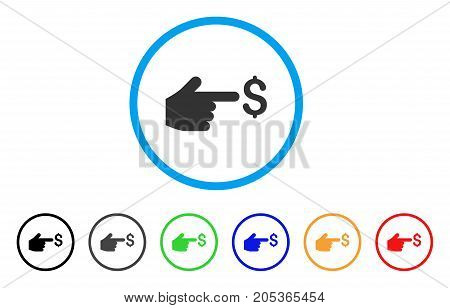 Dollar Index rounded icon. Style is a flat dollar index gray symbol inside light blue circle with black, gray, green, blue, red, orange variants. Vector designed for web and software interfaces.