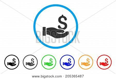 Earnings Hand rounded icon. Style is a flat earnings hand grey symbol inside light blue circle with black, gray, green, blue, red, orange versions. Vector designed for web and software interfaces.