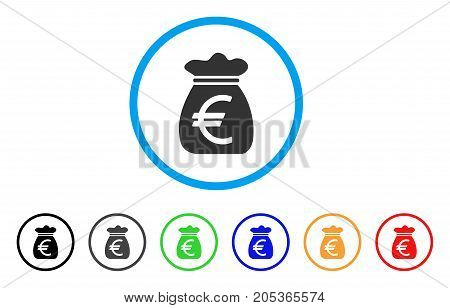Euro Money Bag rounded icon. Style is a flat euro money bag gray symbol inside light blue circle with black, gray, green, blue, red, orange variants. Vector designed for web and software interfaces.