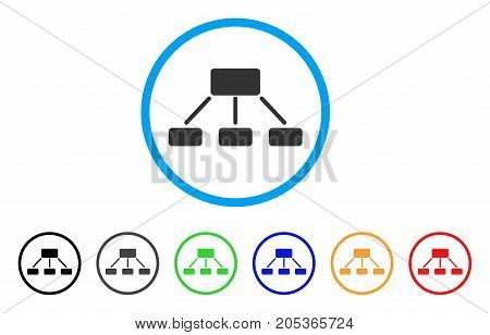 Hierarchy rounded icon. Style is a flat hierarchy grey symbol inside light blue circle with black, gray, green, blue, red, orange color versions. Vector designed for web and software interfaces.