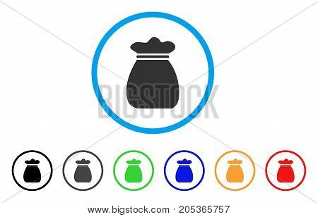 Profit Bag rounded icon. Style is a flat profit bag gray symbol inside light blue circle with black, gray, green, blue, red, orange color versions. Vector designed for web and software interfaces.