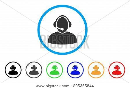 Call Center rounded icon. Style is a flat call center grey symbol inside light blue circle with black, gray, green, blue, red, orange color versions. Vector designed for web and software interfaces.