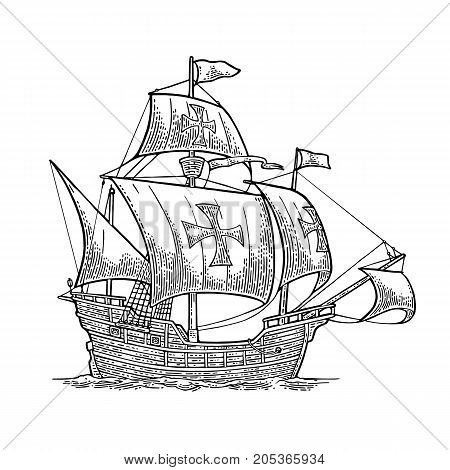 Sailing ship floating on the sea waves. Caravel Santa Maria. Hand drawn design element. Vintage black vector engraving illustration isolated on white on white background. For poster Day Columbus