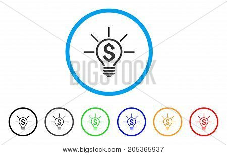 Financial Idea Bulb rounded icon. Style is a flat financial idea bulb gray symbol inside light blue circle with black, gray, green, blue, red, orange color versions.