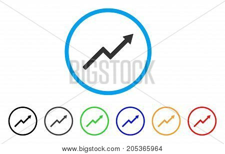 Growth Trend Chart rounded icon. Style is a flat growth trend chart grey symbol inside light blue circle with black, gray, green, blue, red, orange variants.