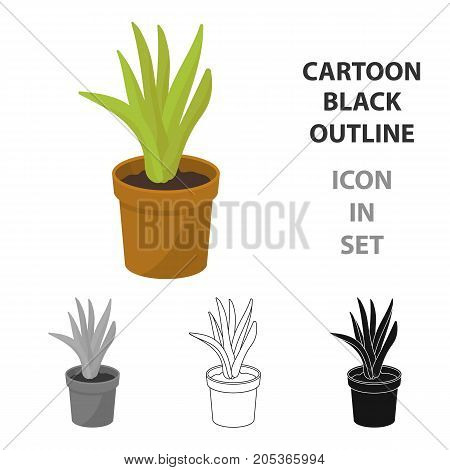Office plant in th flowerpot icon in cartoon style isolated on white background. Office furniture and interior symbol vector illustration.