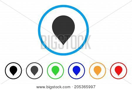 Map Marker rounded icon. Style is a flat map marker grey symbol inside light blue circle with black, gray, green, blue, red, orange variants. Vector designed for web and software interfaces.