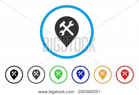 Workshop Map Marker rounded icon. Style is a flat workshop map marker grey symbol inside light blue circle with black, gray, green, blue, red, orange variants.