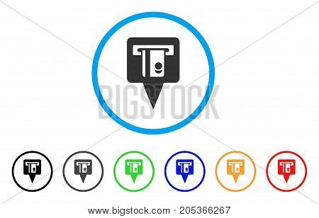 ATM Terminal Marker rounded icon. Style is a flat atm terminal marker gray symbol inside light blue circle with black, gray, green, blue, red, orange versions.