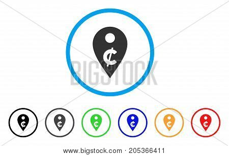 Cent Map Marker rounded icon. Style is a flat cent map marker grey symbol inside light blue circle with black, gray, green, blue, red, orange color versions.