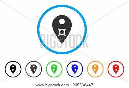 Currency Map Marker rounded icon. Style is a flat currency map marker grey symbol inside light blue circle with black, gray, green, blue, red, orange variants.
