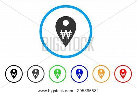 Korean Won Map Marker rounded icon. Style is a flat korean won map marker gray symbol inside light blue circle with black, gray, green, blue, red, orange variants.