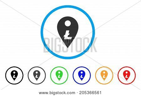 Litecoin Map Marker rounded icon. Style is a flat litecoin map marker grey symbol inside light blue circle with black, gray, green, blue, red, orange versions.