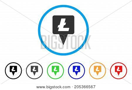 Litecoin Map Pointer rounded icon. Style is a flat litecoin map pointer gray symbol inside light blue circle with black, gray, green, blue, red, orange variants.