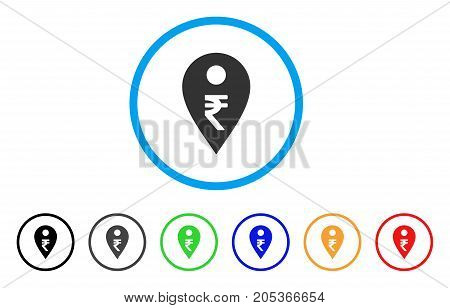 Rupee Map Marker rounded icon. Style is a flat rupee map marker grey symbol inside light blue circle with black, gray, green, blue, red, orange variants.