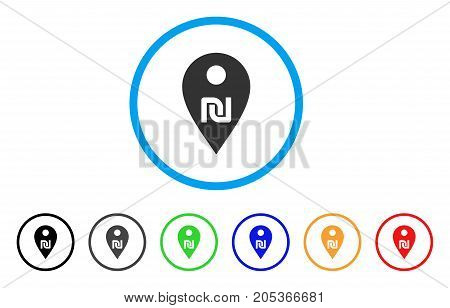 Shekel Map Marker rounded icon. Style is a flat shekel map marker gray symbol inside light blue circle with black, gray, green, blue, red, orange variants.