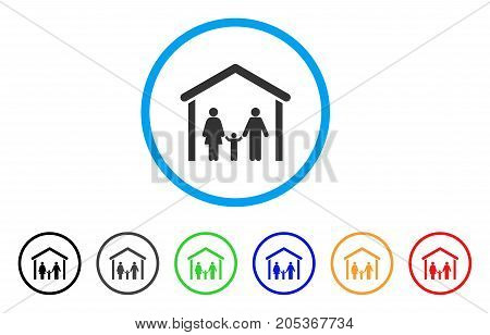 Family Cabin rounded icon. Style is a flat family cabin gray symbol inside light blue circle with black, gray, green, blue, red, orange versions. Vector designed for web and software interfaces.